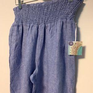 Sigrid Olsen Linen Wide Leg Smocked Waist Pants